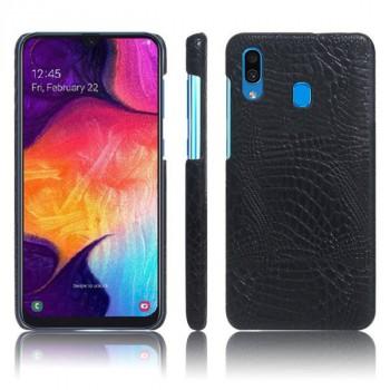 Пластиковый непрозрачный матовый чехол с текстурным покрытием Крокодил для Samsung Galaxy A20/A30 Черный