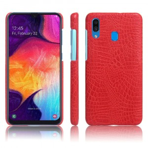 Пластиковый непрозрачный матовый чехол с текстурным покрытием Крокодил для Samsung Galaxy A20/A30 Красный