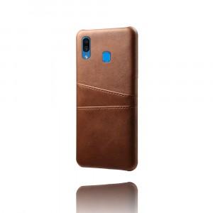 Чехол накладка текстурная отделка Кожа с отсеком для карт для Samsung Galaxy A20/A30 Коричневый