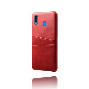 Чехол накладка текстурная отделка Кожа с отсеком для карт для Samsung Galaxy A20/A30 Красный