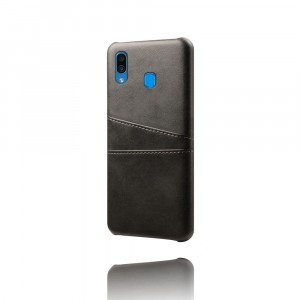 Чехол накладка текстурная отделка Кожа с отсеком для карт для Samsung Galaxy A20/A30 Черный