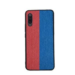 Силиконовый матовый непрозрачный чехол с текстурным покрытием Ткань для Samsung Galaxy A50  Синий