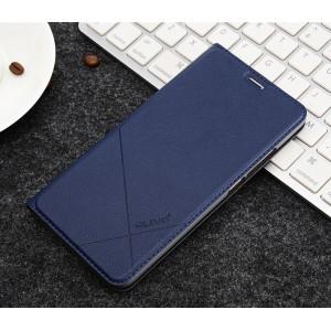 Чехол флип подставка текстура Линии на пластиковой основе с отсеком для карт для Xiaomi RedMi Note 4X Синий