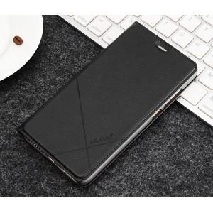 Чехол флип подставка текстура Линии на пластиковой основе с отсеком для карт для Xiaomi RedMi Note 4X Черный