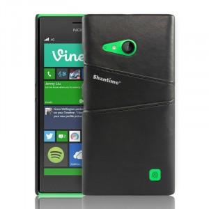 Чехол накладка текстурная отделка Кожа с отсеком для карт для Nokia Lumia 730/735 Черный