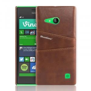 Чехол накладка текстурная отделка Кожа с отсеком для карт для Nokia Lumia 730/735 Коричневый