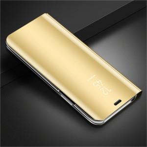 Пластиковый непрозрачный матовый чехол с полупрозрачной крышкой с зеркальным покрытием для Samsung Galaxy A50 Бежевый