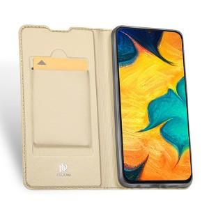 Чехол горизонтальная книжка подставка на силиконовой основе с отсеком для карт для Samsung Galaxy A20/A30 Бежевый