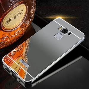 Двухкомпонентный чехол c металлическим бампером с поликарбонатной накладкой и зеркальным покрытием для ASUS ZenFone 3 Max ZC553KL Черный