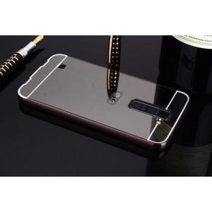 Двухкомпонентный чехол c металлическим бампером с поликарбонатной накладкой и зеркальным покрытием для LG K8 Черный