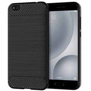 Силиконовый матовый непрозрачный чехол с текстурным покрытием Металлик для Xiaomi Mi5C Черный