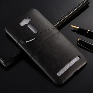 Чехол накладка текстурная отделка Кожа с отсеком для карт для ASUS Zenfone Selfie Черный