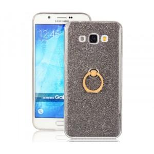 Силиконовый глянцевый полупрозрачный чехол с встроенным кольцом-подставкой и текстурным покрытием Золото для Samsung Galaxy A8 Черный