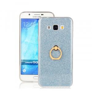 Силиконовый глянцевый полупрозрачный чехол с встроенным кольцом-подставкой и текстурным покрытием Золото для Samsung Galaxy A8 Синий