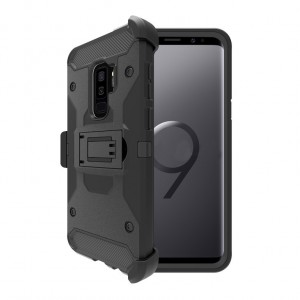 Противоударный двухкомпонентный силиконовый матовый непрозрачный чехол с поликарбонатными вставками Экстрим защита, клипсой для ремня и встроенной ножкой-подставкой для Samsung Galaxy S9 Plus Черный