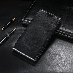 Глянцевый водоотталкивающий чехол вертикальная книжка на силиконовой основе на магнитной защелке для BQ Magic Черный