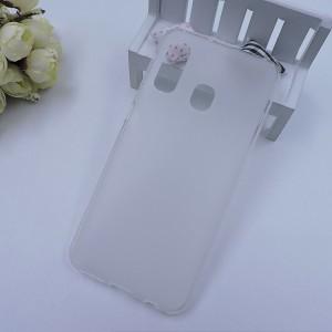 Силиконовый матовый полупрозрачный чехол для Samsung Galaxy A20/A30 Белый
