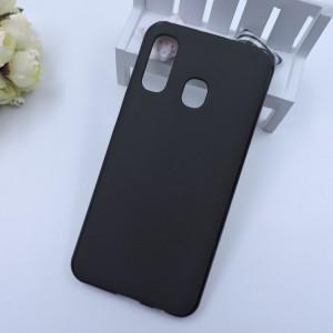 Силиконовый матовый непрозрачный чехол для Samsung Galaxy A20/A30 Черный
