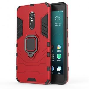 Двухкомпонентный силиконовый матовый непрозрачный чехол с поликарбонатными бампером и крышкой и встроенной ножкой-подставкой для Xiaomi RedMi Note 4X Красный