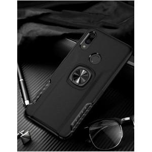 Противоударный двухкомпонентный силиконовый матовый непрозрачный чехол с поликарбонатными вставками экстрим защиты с встроенным кольцом-подставкой и текстурным покрытием Кожа для Xiaomi RedMi Note 7 Черный
