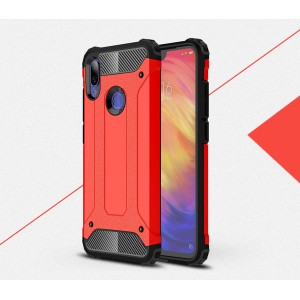 Противоударный двухкомпонентный силиконовый матовый непрозрачный чехол с поликарбонатными вставками экстрим защиты с текстурным покрытием Металлик для Xiaomi RedMi Note 7 Красный