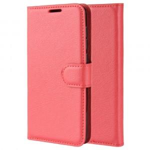 Чехол портмоне подставка на силиконовой основе с отсеком для карт на магнитной защелке для Xiaomi RedMi Note 7  Красный