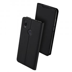 Чехол флип подставка на силиконовой основе с отсеком для карт для Xiaomi RedMi Note 7  Черный