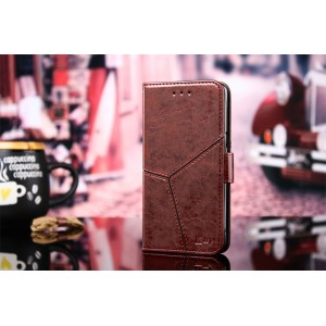 Винтажный чехол портмоне подставка на силиконовой основе с отсеком для карт и текстурным покрытием Линии на магнитной защелке для ASUS ZenFone Max Pro M2 Бордовый