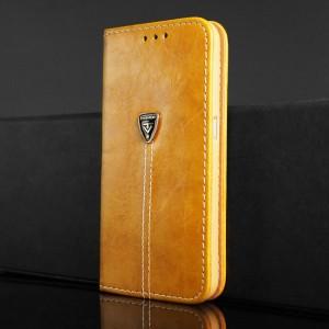 Винтажный чехол портмоне подставка на силиконовой основе с отсеком для карт для Samsung Galaxy S6 Оранжевый