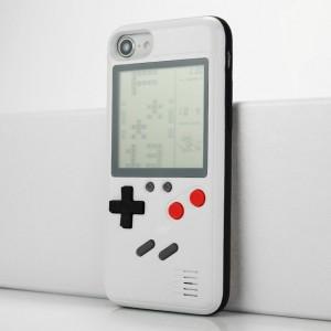 Силиконовый матовый непрозрачный чехол с приставкой Тетрис на обратной стороне для Iphone 7/8 Белый