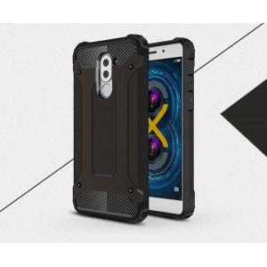Силиконовый матовый непрозрачный чехол с поликарбонатными вставками экстрим защиты для Huawei Honor 6X Черный