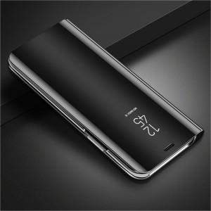 Пластиковый непрозрачный матовый чехол с полупрозрачной крышкой с зеркальным покрытием для Samsung Galaxy A10  Черный