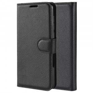 Чехол портмоне подставка на силиконовой основе с отсеком для карт на магнитной защелке для Samsung Galaxy A10  Черный