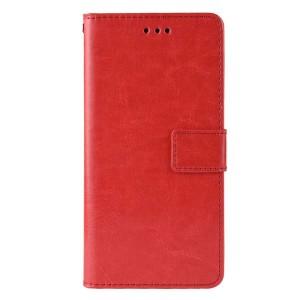 Глянцевый водоотталкивающий чехол портмоне подставка на силиконовой основе с отсеком для карт на магнитной защелке для Samsung Galaxy A10  Красный
