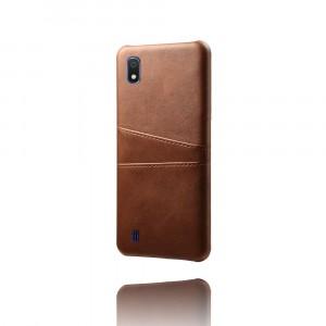 Чехол накладка текстурная отделка Кожа с отсеком для карт для Samsung Galaxy A10  Коричневый