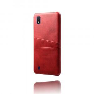 Чехол накладка текстурная отделка Кожа с отсеком для карт для Samsung Galaxy A10  Красный