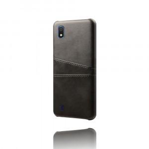 Чехол накладка текстурная отделка Кожа с отсеком для карт для Samsung Galaxy A10  Черный