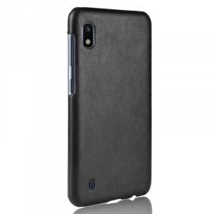 Чехол накладка текстурная отделка Кожа для Samsung Galaxy A10  Черный