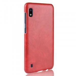 Чехол накладка текстурная отделка Кожа для Samsung Galaxy A10  Красный