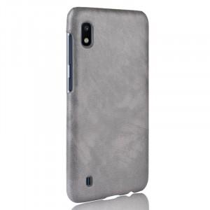 Чехол накладка текстурная отделка Кожа для Samsung Galaxy A10  Серый