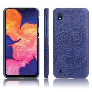 Пластиковый непрозрачный чехол с текстурным покрытием Крокодил для Samsung Galaxy A10  Синий