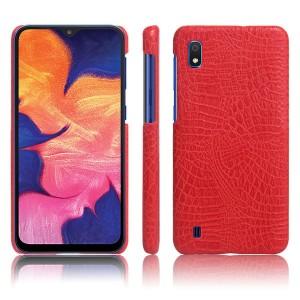 Пластиковый непрозрачный чехол с текстурным покрытием Крокодил для Samsung Galaxy A10  Красный