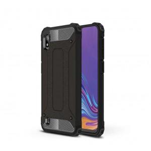 Противоударный двухкомпонентный силиконовый матовый непрозрачный чехол с поликарбонатными вставками экстрим защиты для Samsung Galaxy A10  Черный