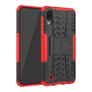 Противоударный двухкомпонентный силиконовый матовый непрозрачный чехол с нескользящими гранями и поликарбонатными вставками экстрим защиты с встроенной ножкой-подставкой для Samsung Galaxy A10  Красный