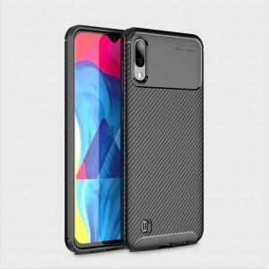 Силиконовый матовый непрозрачный чехол с текстурным покрытием Карбон для Samsung Galaxy A10  Черный