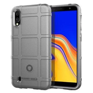 Силиконовый матовый непрозрачный чехол с текстурным покрытием Узоры для Samsung Galaxy A10 Серый