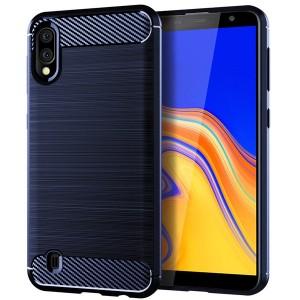 Силиконовый матовый непрозрачный чехол с текстурным покрытием Металлик для Samsung Galaxy A10  Синий