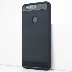 Силиконовый матовый непрозрачный чехол с текстурным покрытием Металлик для Huawei Honor 8 Синий