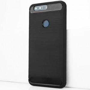 Силиконовый матовый непрозрачный чехол с текстурным покрытием Металлик для Huawei Honor 8 Черный