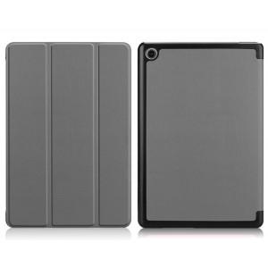 Сегментарный чехол книжка подставка на непрозрачной поликарбонатной основе для Huawei MediaPad M5 Lite  Серый
